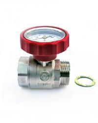Красный шаровый кран со встроенным термометром HANSA