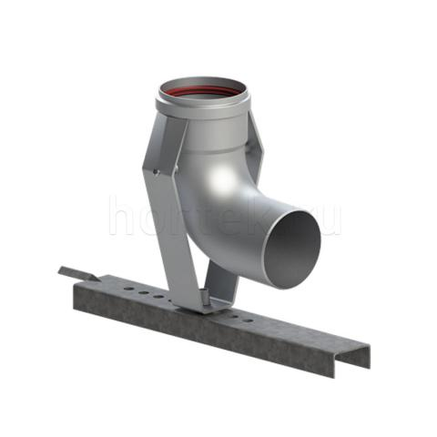Отвод для шахты 87 град. 80 мм с опорой